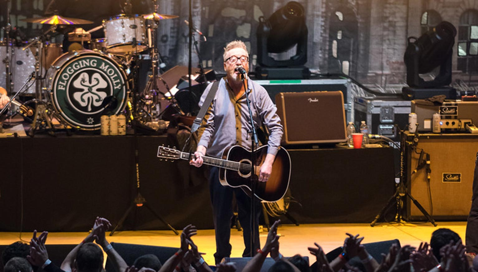 Singer of Flogging Molly on stage